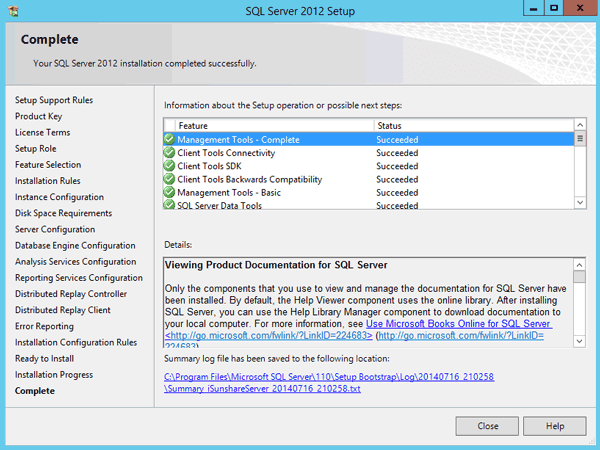 complete SQL Server 2012 installation