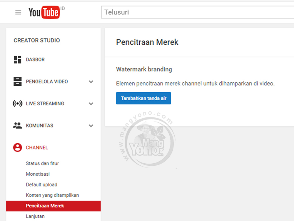 Cara Membuat Watermark di Video YouTube ~ Blog Mang Yono