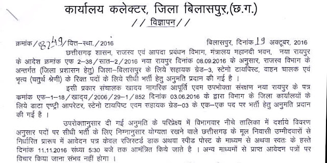 www.bilaspur.gov.in Collector Office Recruitment