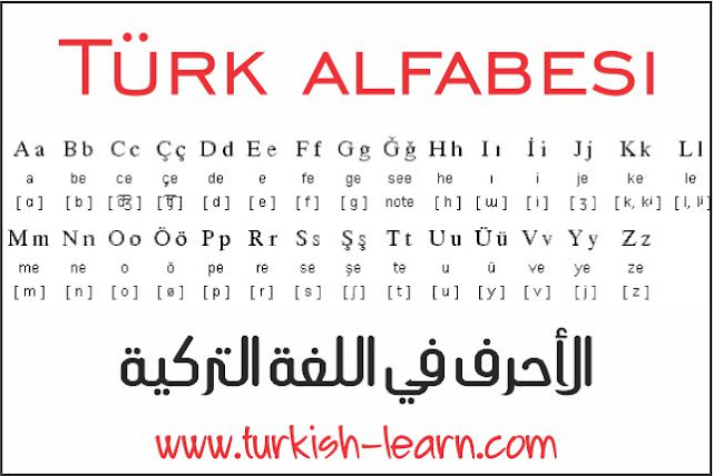 Türk alfabesi الاحرف في اللغة التركية