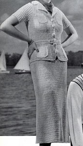 The Vintage Pattern Files: Free 1930's Knitting Pattern - St. George's White Nub Yarn Suit Pattern
