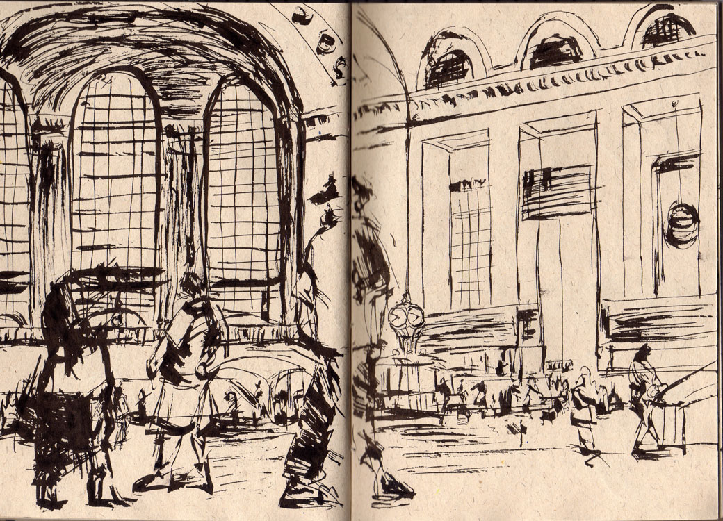 Sze Wat - sketch of grand station with people walking past