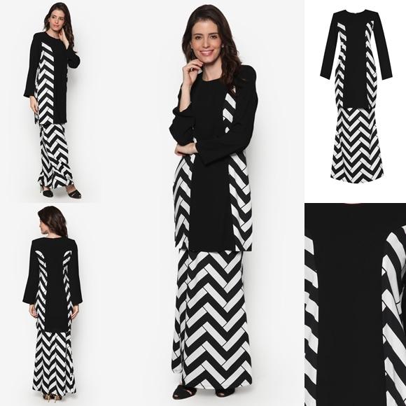 Fesyen Baju Kurung Moden Terkini Black White Monochrome Teratai By Butik Sireh Pinang