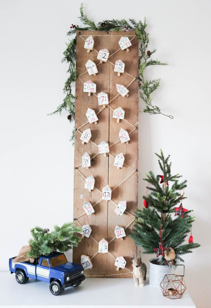 Tiny wood house advent calendar