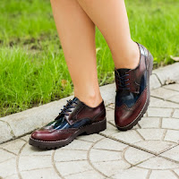 Pantofi dama Piele Margit visinii tip Oxford • modlet
