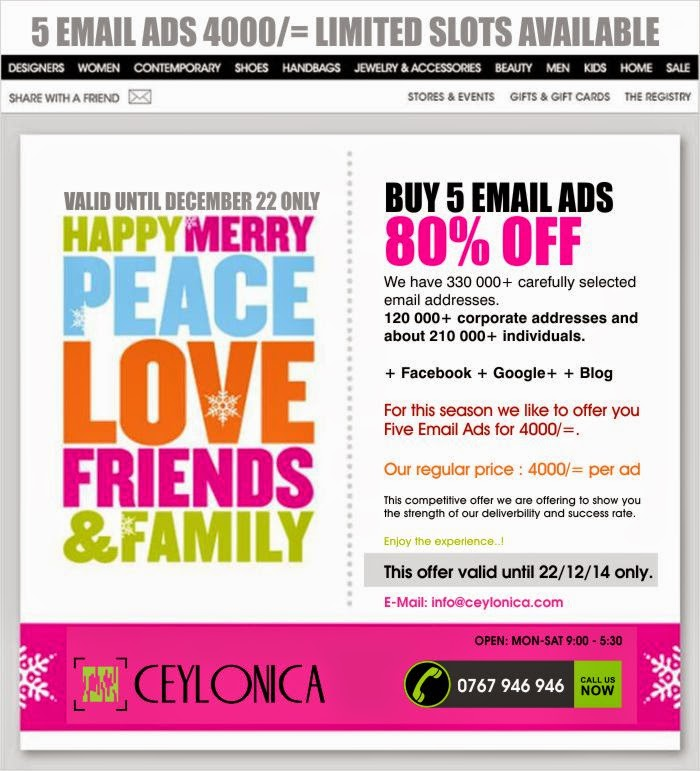 Ceylonica Unlimited 5 Email Ads 4000 Only Limited Slots Available