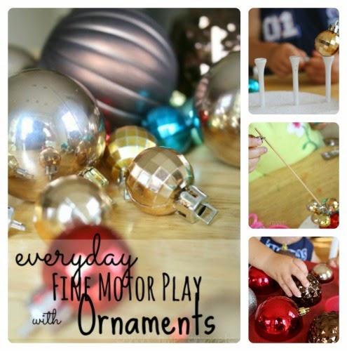 fine motor skills using ornaments