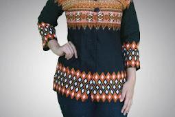 35 Pilihan Model Baju Batik Kerja Wanita Gemuk Modern 2018