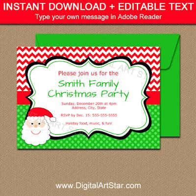 editable Santa invites