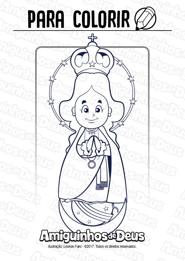 Nossa Senhora de Caacupé desenho para colorir