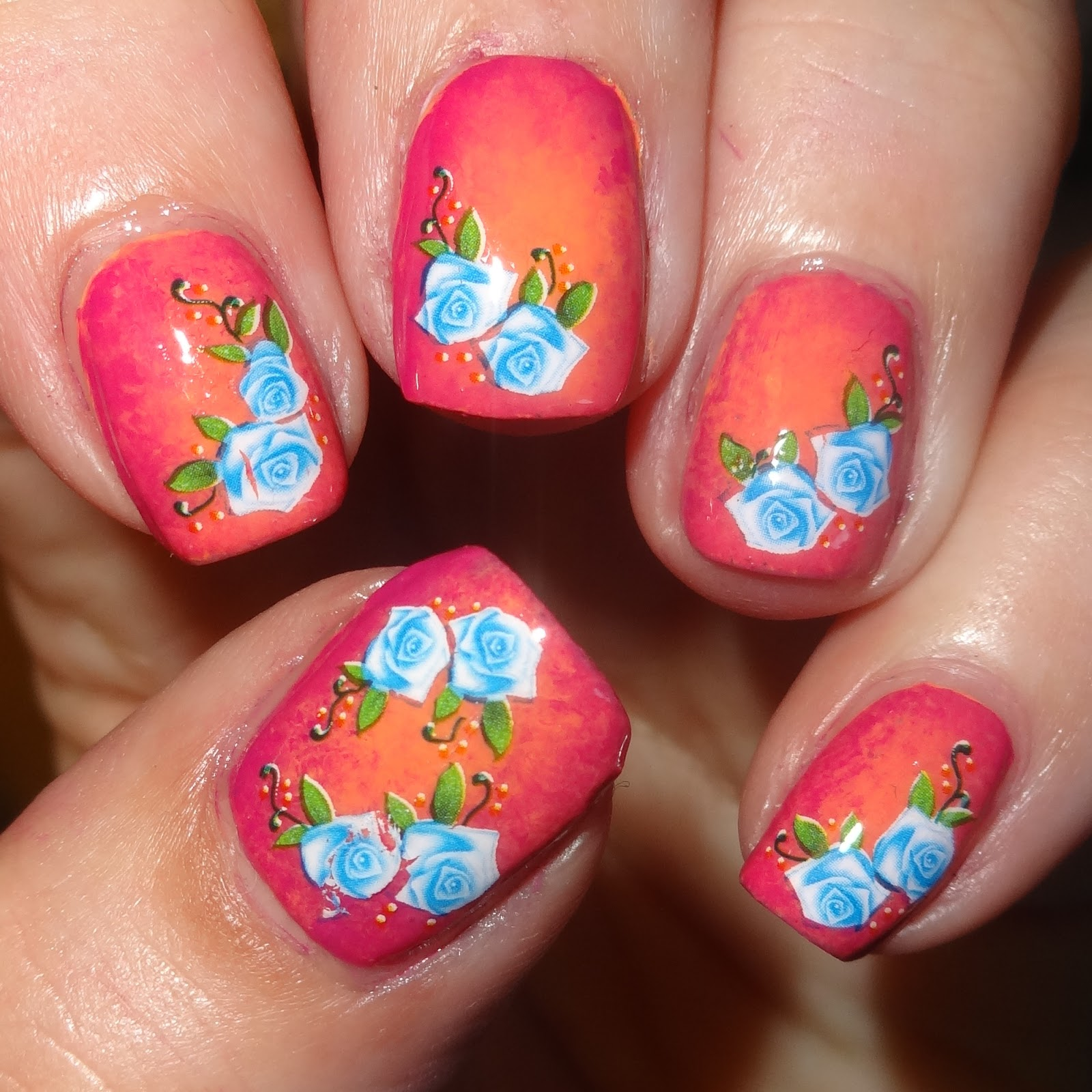 Wendy 39 s delights blue roses nail art water decals from - What are blue roses called ...