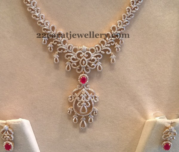 Medium Size Diamond Haram 5 Lakhs Only Jewellery Designs