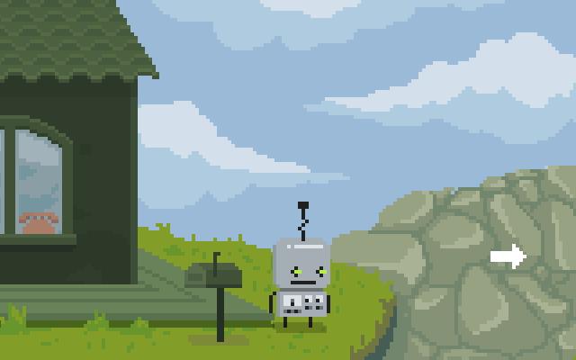 Escena dibujada en pixel art de un robot en el exterior de una casa.