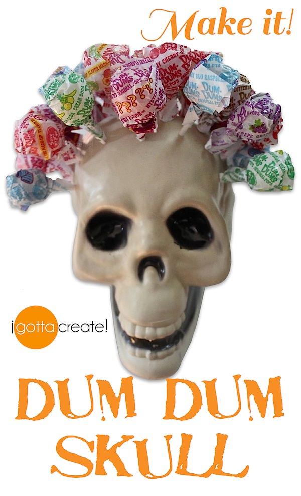 What a hairdo! Transform that dollar plastic skull to hold your treats for Halloween. | Instructions at I Gotta Create!