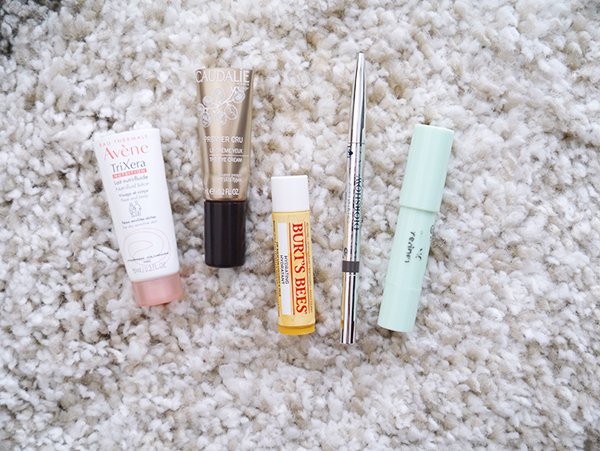 Skincare by Avene and Caudalie, Essence colour corrector, Dior brow pencil, Burt's Bees lip balm