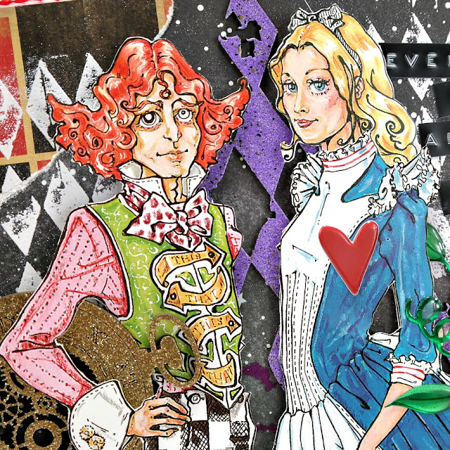 Mad Hatter and Alice Paper Dolls on a Mixed Media Art Board