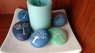 piedras, rocas, pintura, árbol, familia