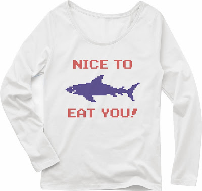Pixel Party Boy「Nice To Eat You!」[Girls Boat-neck LongTee] ボートネック・ロングスリーブTシャツ 4.3oz | T-SHIRT COUNCIL