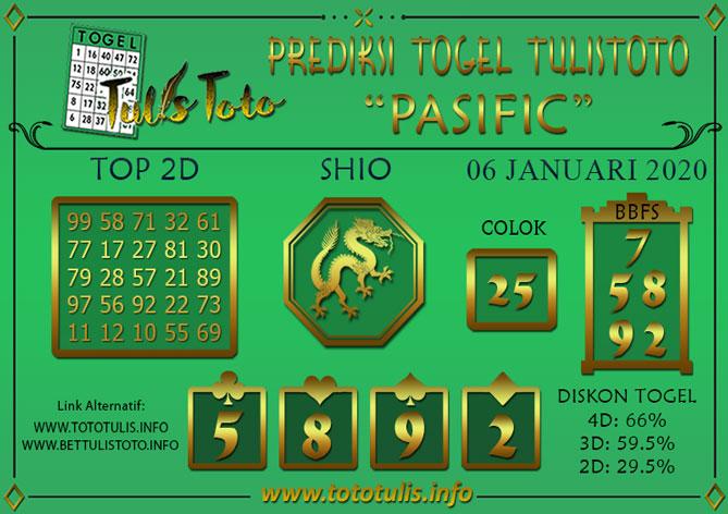 Prediksi Togel PASIFIC TULISTOTO 06 JANUARI 2020