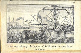 Image of the Boston Tea Party: Americans throwing the Cargoes of the Tea Ships into the River, at Boston