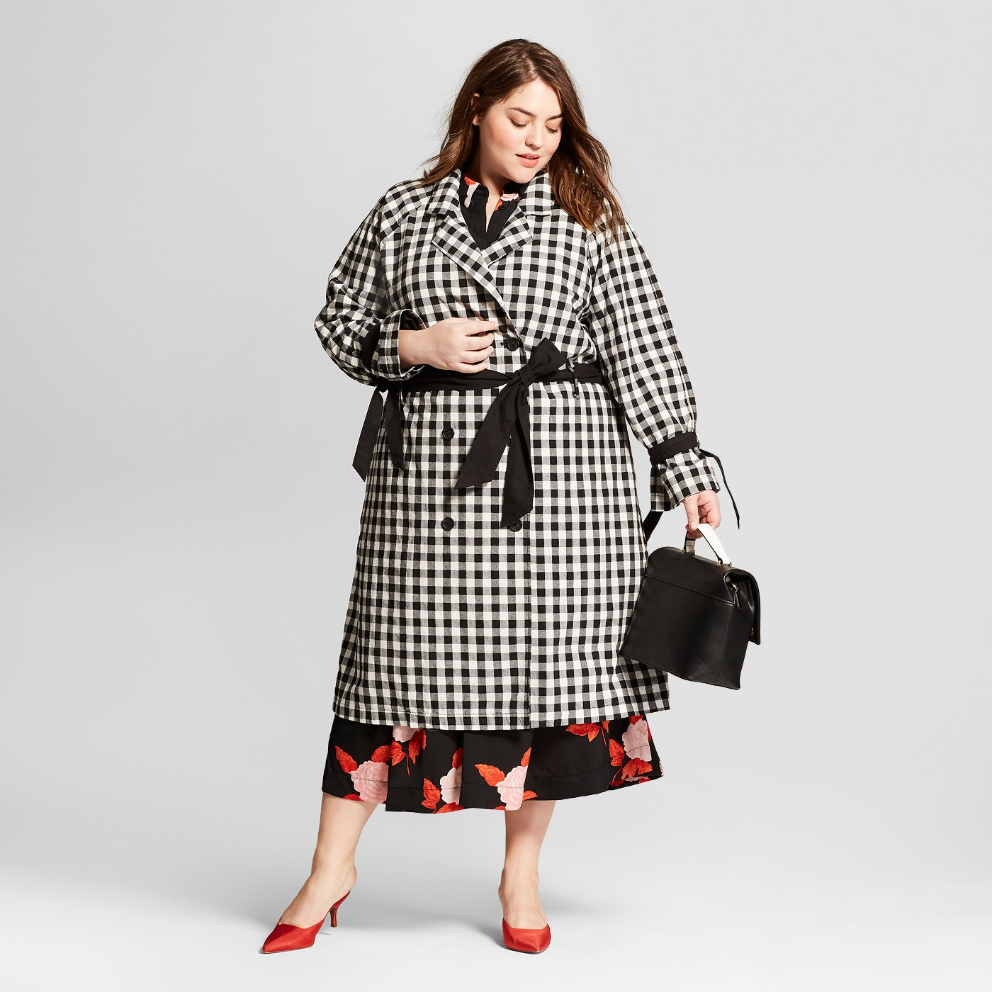 Plus Size {Fashion} Pick of the Day: Black Gingham Trench Coat ...