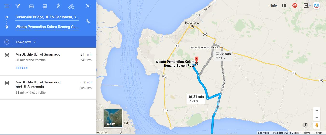 https://www.google.co.id/maps/dir/Suramadu+Bridge,+Surabaya,+East+Java/Wisata+Pemandian+Kolam+Renang+Guweh+Pote,+Jaddih,+Socah,+Kab.+Bangkalan,+Jawa+Timur,+Indonesia/@-7.1365654,112.7756876,13z/data=!4m8!4m7!1m2!1m1!1s0x2dd7f963d2d4fb4d:0x30462b46df526821!1m2!1m1!1s0x2dd8045ec63038ad:0x33e8652ea5f91037!3e0