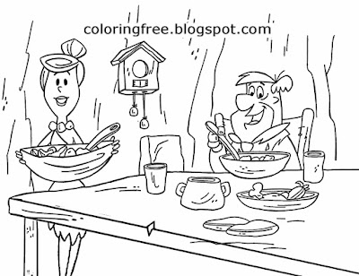 Simple caveman food Wilma and Frederick Flintstones cartoon free pictures to colour in for teenagers