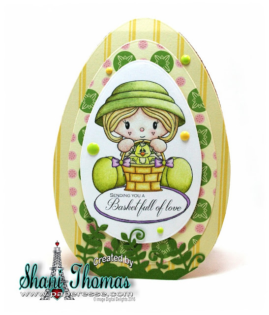 Egg shaped Easter card featuring Digital Delights Easter Mary stamp set, design by Paperesse.