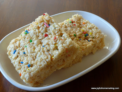 Confetti Cake Batter Rice Crispy Treats
