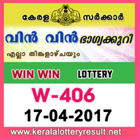 17.4.2017 Win Win Lottery W 406 Results Today - kerala lottery result