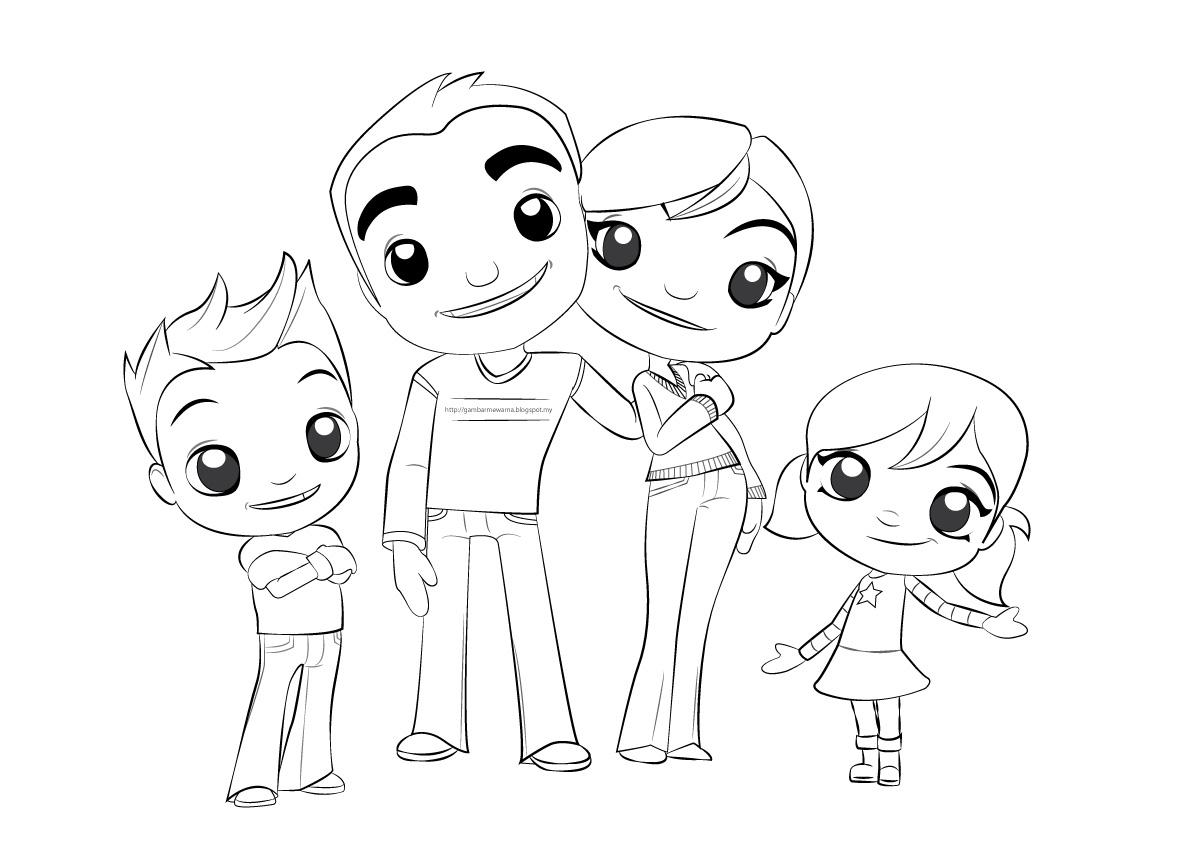 Gambar mewarna Keluarga Gembira