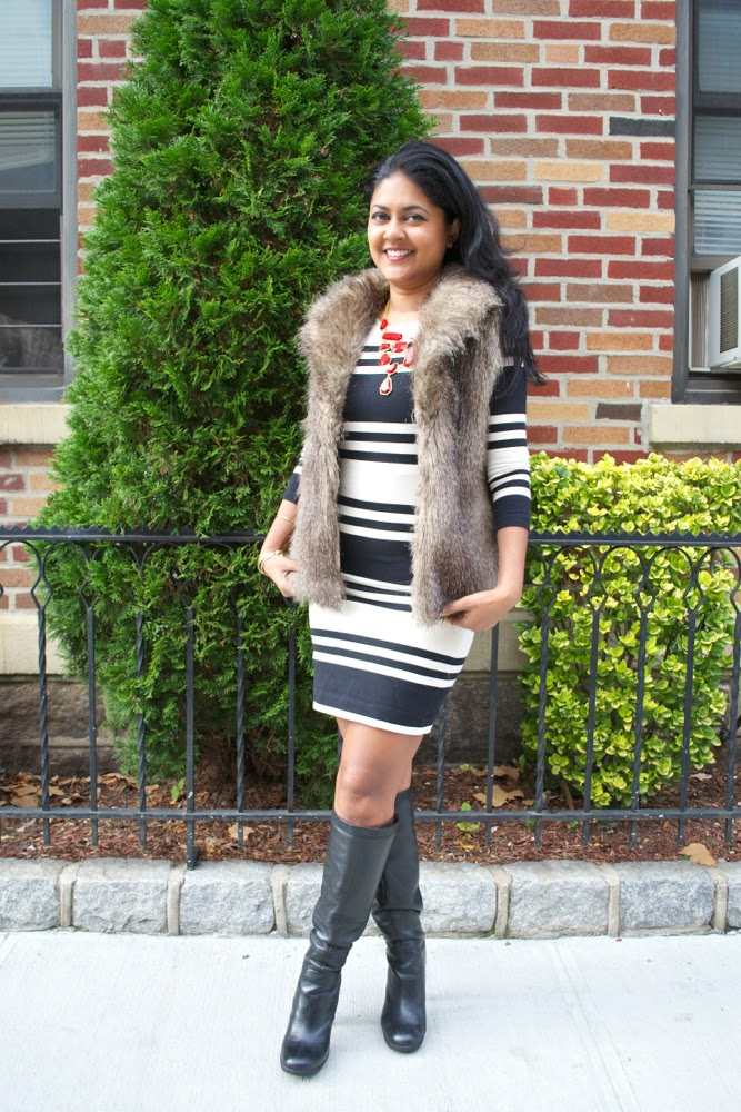 fur vest striped dress black and white