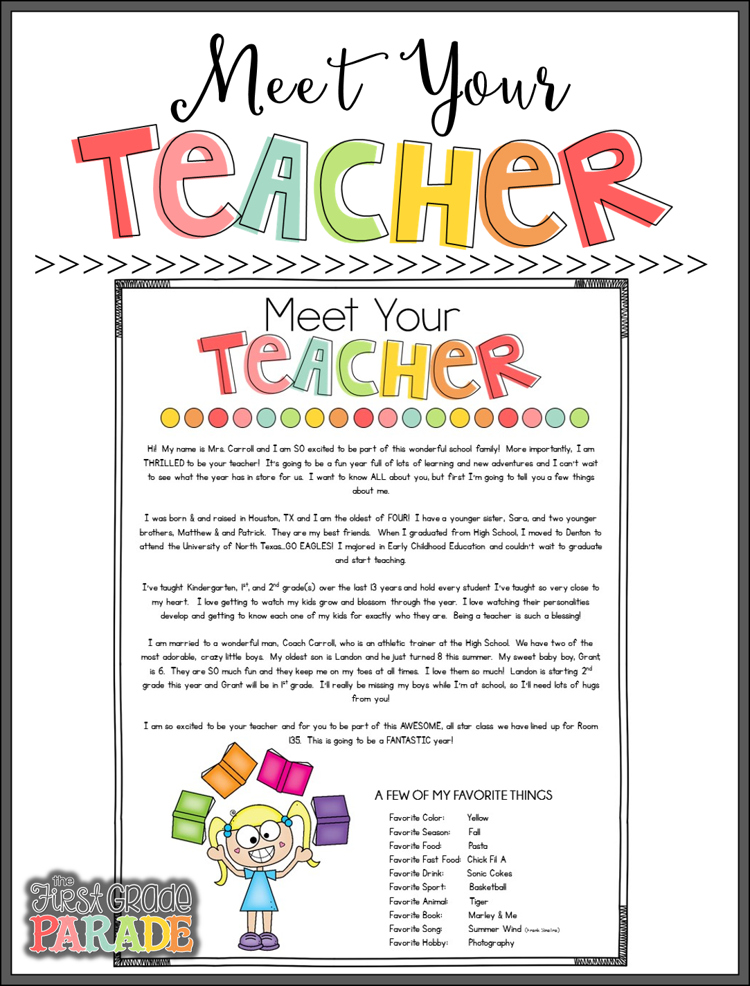 Meet the Teacher Tips & Ideas - The First Grade Parade
