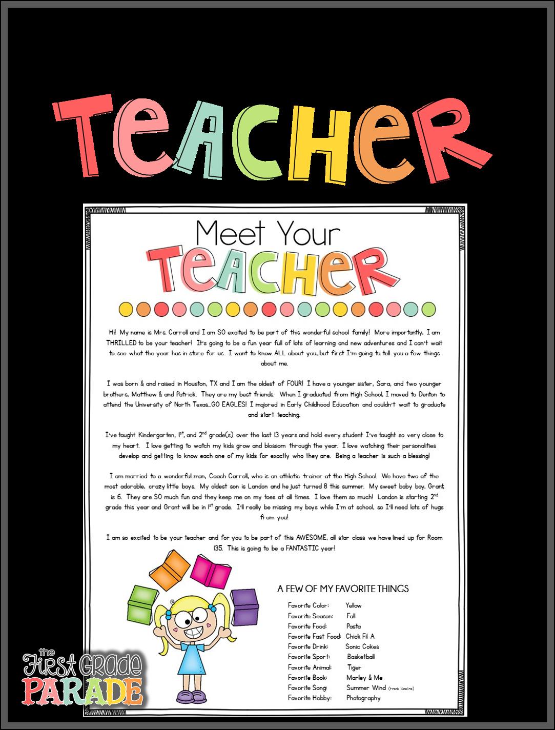 The First Grade Parade Meet The Teacher Tips Amp Ideas