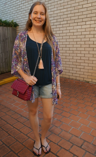 kindness collective kaleidoscope kimono navy tank denim shorts Rebecca Minkoff Edie cross body | away from blue