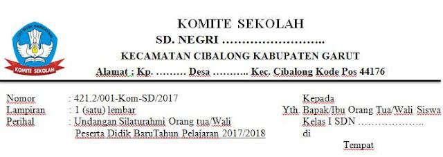 Contoh Surat Undangan Kepala Sekolah Kepada Orang Tua Murid Siswa