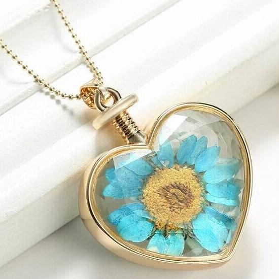 Mavi Papatya Yaşayan Çiçek Kolye