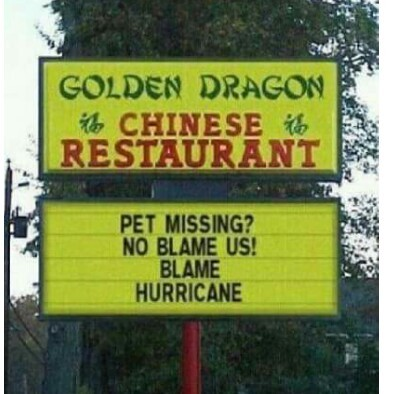 Funny Hurricane Matthew Chinese Restaurant Sign Picture