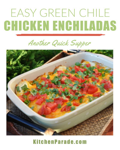 Easy Green Chile Chicken Enchiladas ♥ KitchenParade.com, a quick-quick way to get a green chile fix without spending hours in the kitchen.