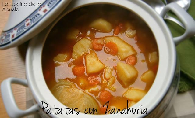 Cocido invernal, patatas puerros y zanahorias