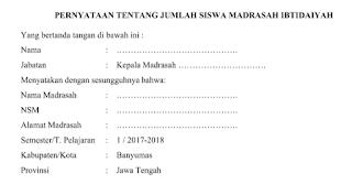Format Pernyataan Jumlah Siswa, RKAM dan Kuitansi