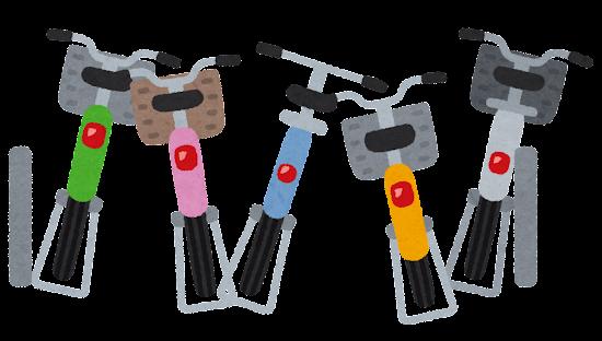 バラバラに自転車が置かれた自転車置場のイラスト