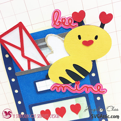 SVG Attic: Bee Mine Valentine with Angeline #svgattic #scrappyscrappy #valentine #card #cardmaking #valentinecard #papercraft #svg #diecut #beemine