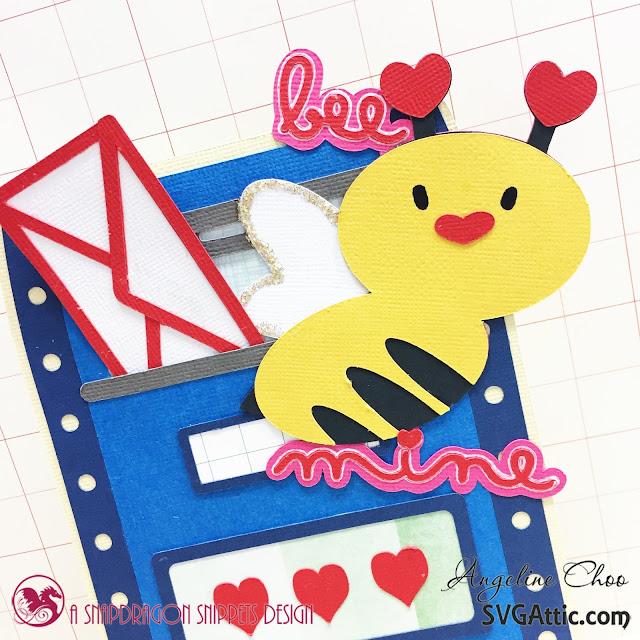 ScrappyScrappy: Bee Mine Valentine with Angeline #svgattic #scrappyscrappy #valentine #card #cardmaking #valentinecard #papercraft #svg #diecut #beemine