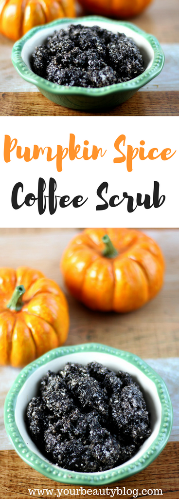 Pumpkin spice coffee scrub recipe to naturally exfoliate and moisturize dry skin and feet.