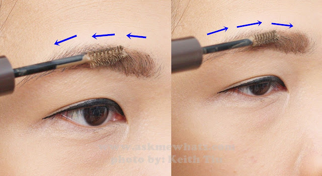a photo of how to use Holika Holika Wonder Drawing 1sec. Finish Browcara