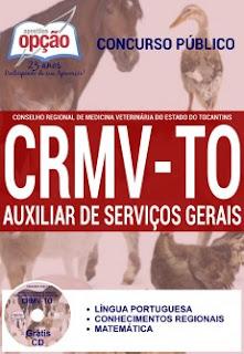 Apostila Conselho Regional de Medicina Veterinária do TO - CRMVTO Auxiliar de Serviços Gerais