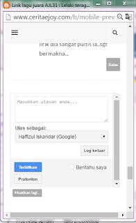 Kotak komen dekat blogspot versi mobile hilang/tak keluar