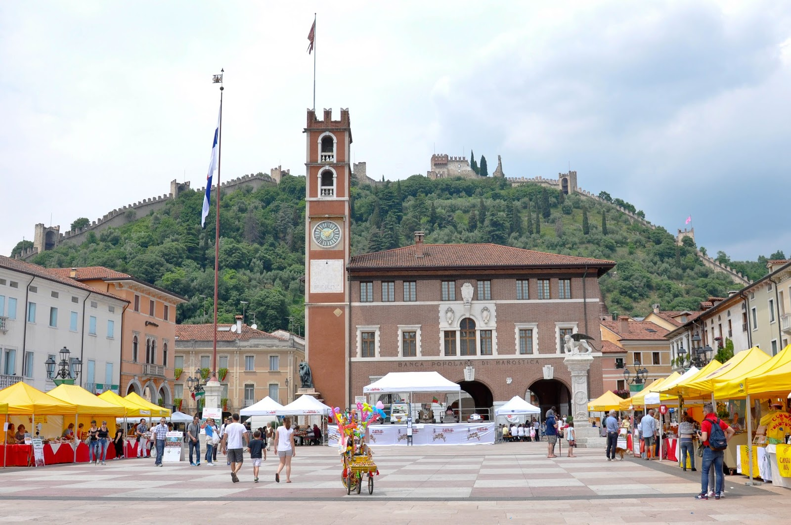 Marostica's defensive wall brims the Cherry Show Market in Marostica, Veneto, Italy