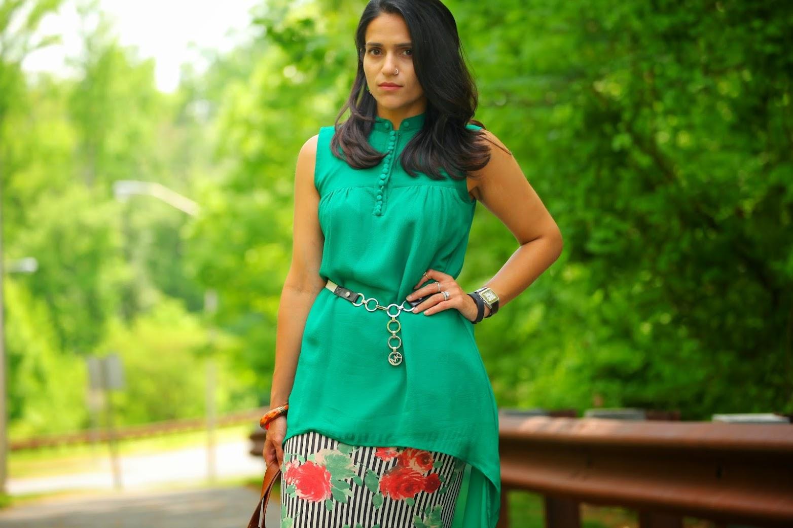 Top - Custom Made from India, Skirt - Asos, Footwear - Tommy Hilfiger, Bag - Mulberry, Belt - Michael Kors